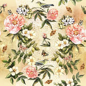 Padrão com flores e pássaros — Foto Stock