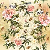 Patroon met bloemen en vogels — Stockfoto