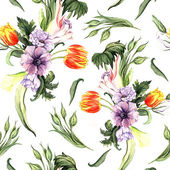 Watercolor vintage floral pattern — Stock Photo