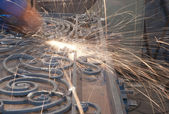 Worker welding metal. Production and construction — Stock Photo