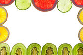 Mix of colorful citrus fruit on white — Stock Photo