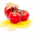 Fresh tomato on yellow leaves isolated — Stock Photo
