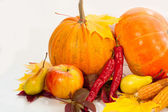 Beautiful autumn harvest and leaves — Stock Photo