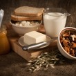 Healthy  meal with bread,milk and cereals — Stock Photo