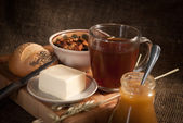 Healthy meal with bread , cereals — Stock Photo