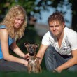 Royalty-Free Stock Photo: And Animals - Young peoples with mixed breed