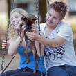And Animals - Young peoples with mixed breed — Stockfoto