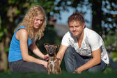 And Animals - Young peoples with mixed breed — Stock Photo