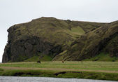 Iceland - Southern Iceland - at the waterfall Skogafoss — Stock Photo