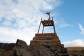 Iceland - The Northeast - chair with moose antlers in Reykjahl� — Stock Photo