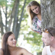 Watching a couple flirting - Stock Photo