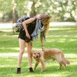 Young woman with her dog in the park — Foto de Stock   #51427063