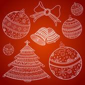 Christmas toys, Christmas tree, bells and bow — Stock Vector