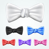 Set of 6 bowties in different colors — Stock Vector
