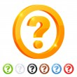 Set of 7 question symbol in different colors. - Stock Vector