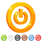 Set of 7 power button symbol — Stock Vector