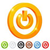 Set of 7 power button symbol — Stock Vector