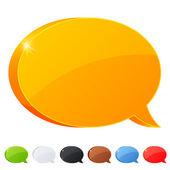 Set of 7 speech bubble symbol in different colors — Stock Vector