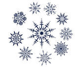 Collection 10 snowflakes isolated in white background — Stock Vector