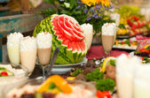 Decorated fruit table — Stock Photo