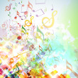 Abstract Shattered Music Notes Background - Stock Photo