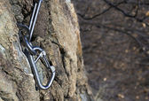 Rock anchor climbing — Stock Photo
