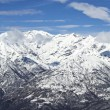 Panoramic snowy mountains — Stock Photo