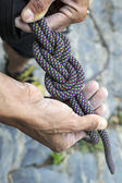 Figure eight knot re-threaded — Stock Photo