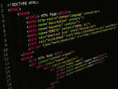 Code,HTML script in text editor — Stock Photo