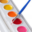 Watercolor paint and brush.  — Stock Photo