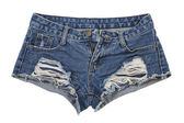 Old worn jean shorts — Stock Photo