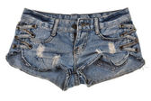 Old worn jean shorts isolated on white — Stock Photo
