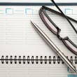 Open weekly planner with ballpen. — Stock Photo