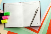 Open note book with lined pages. — Stock Photo