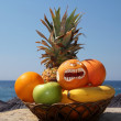 Exotic Fruits Against Tropical Beach — Stock Photo