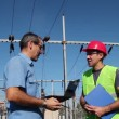 Engineer and Worker at Electrical Substation — Stock Video