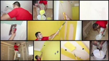 Painting Contractor at Work - Interior Decoration — Stock Video