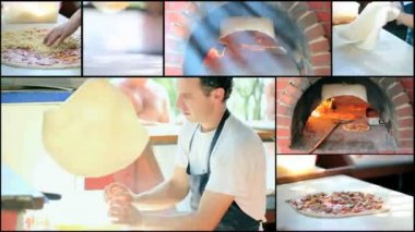 Making Pizza - Pizzeria - Collage — Stock Video
