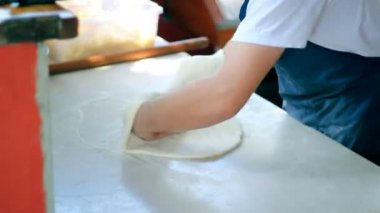 Chef Tossing Pizza Dough — Stock Video