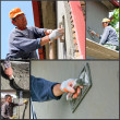 Foto Stock: Construction Workers At Work - Collage