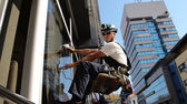 Window Washers on a Office Building — Stock Photo