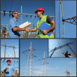 Electricity Distribution - Collage — Foto Stock