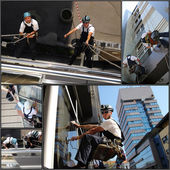 Facade Cleaning - Collage — Stock Photo
