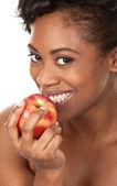 Vrouw met een appel — Stockfoto