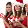 Foto Stock: Group of christmas women