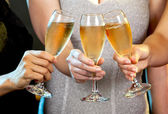 Women holding champagne glasses — Stock fotografie