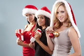 Group of christmas women — Stok fotoğraf