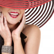 Stock Photo: Womin red hat