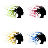 Set of vector color woman head silhouette — Stock Vector