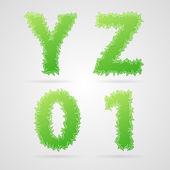 Vector leaf alphabet — Stock Vector